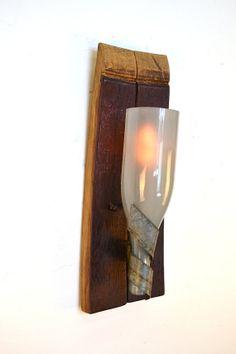 ELEGANCE Wine Barrel Stave & Bottle Sconce by winecountrycraftsman