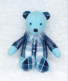 This Memory Bear was made from 2 mens shirts.
