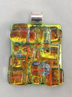 Fused glass pendant, Dichroic pendant, fused glass dichroic jewelry - Golden yellow/orange pendant