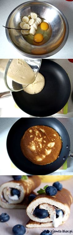 Pancakes with banana Chodakowska Eve. Recipe by clicking on the image. Food Porn, Healthy Snacks, Healthy Recipes, Good Food, Yummy Food, Sweet Breakfast, Food Lists, Diy Food, Food Inspiration