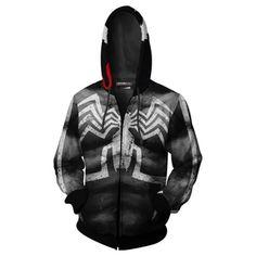 Unisex Venom 2 Hoodies Zip Up Print Cosplay Jacket Sweatshirt Shoulder Sleeve, Hoodies, Sweatshirts, Zip Hoodie, Fancy Dress, Motorcycle Jacket, Spiderman, Zip Ups, 3d Printing