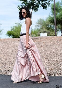 Pink Pleated Maxi Skirt Style Gallery