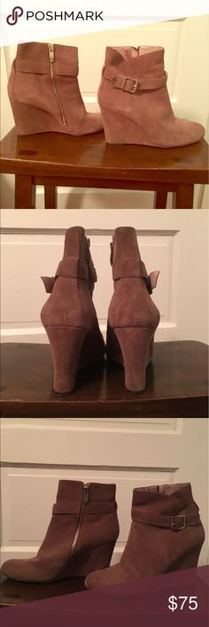 Vince Camuto heeled booties Great condition, tan suede booties by Vince Camuto! Barely worn. Vince Camuto Shoes Ankle Boots & Booties