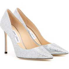 Jimmy Choo Memento Romy 100 Metallic Pumps ($775) ❤ liked on Polyvore featuring shoes, pumps, silver, silver metallic pumps, jimmy choo pumps, silver shoes, silver pumps and jimmy choo