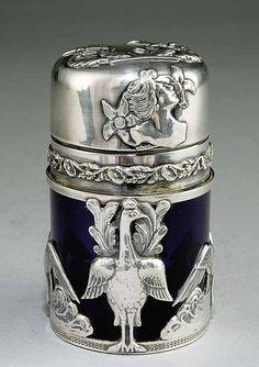 Art nouveau silver-mounted cobalt glass perfume bottle