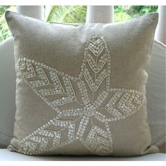 Decorative Throw Pillow Covers Accent Couch Bed Pillows 16x16 Linen Pillows Mother Of Pearl Embroidered Bedroom Home Decor Starfish Pearls