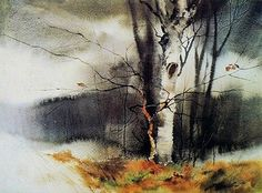 Birch at Hart Lake by Zoltan Szabo (1928-2003)  Zoltan Szabo wrote a number of books that demonstrate and explain watercolor techniques and processes in a clear, easily understood way.  And he is one of my favorite watercolor painters.