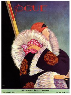 Vogue January 1927 Midwinter Travel Number  cover by American artist & illustrator George Wolfe Plank (1883-1965). via Paul Malon on flickr