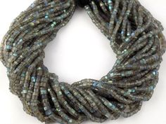 2 Strands Labradorite Gemstone Heishi Shape Faceted Rondelle Wheel Tyre Beads…