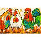 LIZ03 90/140 Pratende kippen Chicken Chat Kleurrijke schilderijen, LIZ!