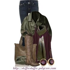 """Army Green & Plum"" by steffiestaffie on Polyvore"