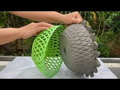 Creatve Unique Tree Pot From Cement and Plastic Baskets - YouTube Cement Flower Pots, Concrete Pots, Concrete Garden, Concrete Crafts, Concrete Projects, Diy Concrete Planters, Fall Planters, Cement Design, Concrete Leaves