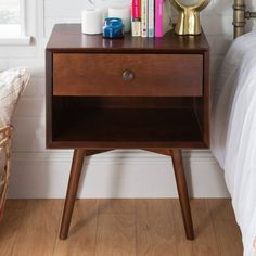 Mid-Century 1 Drawer Solid Wood Nightstand Walnut - Saracina Home : Target Cheap Bedside Tables, Cheap Nightstand, Small Nightstand, Wood Nightstand, Bedroom Night Stands, Wood Dust, Bedroom Decor, Bedroom Ideas, Master Bedroom
