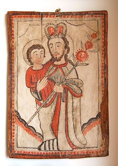 A large retablo of St. Joseph by the Arroyo Hondo Santero, painted in the in red and black on a white ground. Elegant in its direct simplicity. New Mexico Style, Taos New Mexico, St Joseph, Religious Icons, Religious Art, Colonial Art, Catholic Art, Panel Art, Mexican Folk Art
