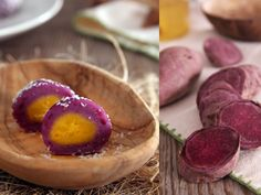 Purple Yam with Custard Mochi