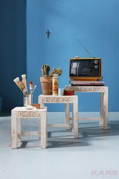 Bijzettafels Taberna is een vintage tafel set van 3 tafels uit de collectie van Kare Design en is nu verkrijgbaar bij Furnies.nl!