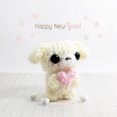 ♡ Happy New Year puppy ♡ #peachycuteshop #cute #kawaii #happynewyear #yearofthedog #dog #pastel #amigurumi #amigurumidoll #crochet #softie #makersgonnamake #handmade #handmadetoys #diy #crafts #fiberart #etsy #shopsmall