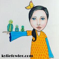 The start of something new.  What do you think?  #kyliefowler #luluartsupplies #tombowdualbrushpens #mixedmedia #artjournaling #kyliepepyat #aussieartist #illustrator #artist #whimsical #birds #butterfly #girl