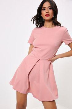 070959d01e Rose Pleat Front Skater Dress