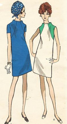 1960s Vogue Sewing Pattern 7472 Womens Shift Dress by CloesCloset