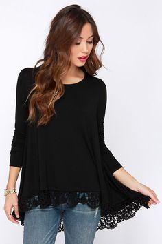 Just Like Vacation Black Long Sleeve Top