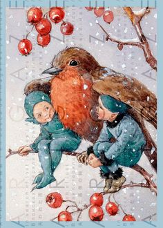 Margaret Winifred Tarrant (English, Vintage Christmas card with two elves being protected from the snow under the wings of a robin. Christmas Drawing, Christmas Fairy, Christmas Crafts, Merry Christmas, Vintage Illustration, Watercolor Illustration, All Nature, Flower Fairies, Fairy Art