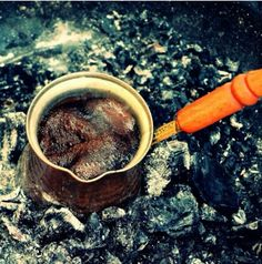 Kzde Trk kahvesi. Turkish coffee boiled over coals. http://www.magnificentturkey.com/ #turkish #coffee #turkey