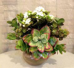 Artificial Echeveria plant, Kalanchoe and Succulent Arrangement in Copper Parla Glass Vase