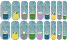 Pocket Pals (many animals) Jamberry Nail Art Studio: Peek-a-boo! Who's there? Carry these cuties in their tiny pockets on your fingers and enjoy their fuzzy little heads peeking out. (rabbit, dog, panda, chick, mouse)