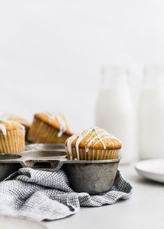 Lemon Poppy Seed Muffins | Browned Butter Blondie | Super simple and extra moist lemon poppy seed muffins are made with just twelve ingredients in under 30 minutes.This easy muffin recipe uses greek yogurt  and topped with a drizzle of sweet vanilla glaze Fun Baking Recipes, Donut Recipes, Best Dessert Recipes, Muffin Recipes, Kitchen Recipes, Sweet Recipes, Citrus Recipes, Cooking Recipes, Summer Recipes