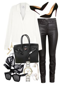 """Untitled #21121"" by florencia95 ❤ liked on Polyvore featuring H&M, Vince, Hermès, Christian Louboutin, Only Hearts, Burberry, Letters By Zoe and CÉLINE"