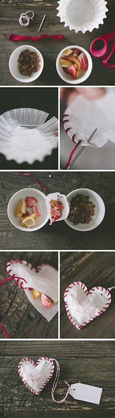 DIY tea bags, heart shaped - just use coffee filters