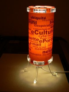 Laser cut acrylic lamp with a tag cloud