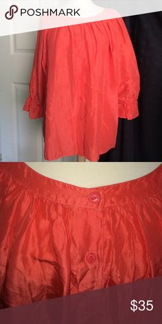 """VINTAGE / SILK / BRIGHT ORANGE Brilliant Orange 100% Silk - Long  (27"""" from shoulder to hem) -  Button Down Blouse - Marked Small but very roomy will definitely fit a Medium as well!  A statement piece - Dress it up with a skirt or go casual with jeans or leggings.  Lovely .Fall color. Tops Blouses"""