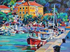 "Saatchi Art Artist Maja Đokić Mihajlović; Painting, ""Red boat at marina"" #art"