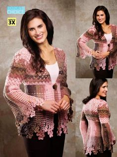Irish crochet &: Жакет с кружевом трилистником, #haken, gratis patroon (Engels) vest, #crochet, free pattern, cardigan, top