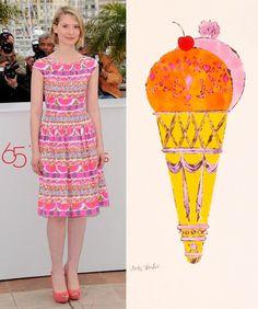 Left, Mia Wasikowska in Prada at Cannes. Right, Andy Warhol's famous ice cream illustration. Nylon