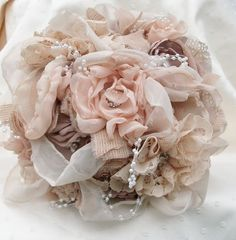 Fabric Bouquet/Vintage Inspired Shabby Chic Fabric Wedding Bouquet/ Bridal Bouquet with Pearls and Crystals,and Rhinestones. $175.00, via Etsy.
