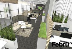 Büro einrichten Open Space Büro: unterschiedliche Bereiche im Open Space Büro, sorgen für ein angenehmes Miteinander. Durch Kommunikations- und Konzentrationszonen werden kleine Räume innerhalb des Open Space Büros geschaffen.
