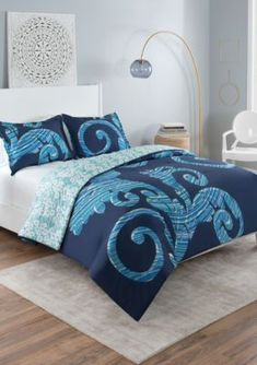 Vue Zendaya Comforter Set features large-scale scroll print embedded with bright stripes in varying blue hues. Reverse features an abstract floral prin. Twin Xl Bedding Sets, Blue Comforter Sets, Twin Xl Comforter, Bed Linen Inspiration, Buy Bed, Bed Sets, House Beds, Cotton Bedding, Blue Abstract