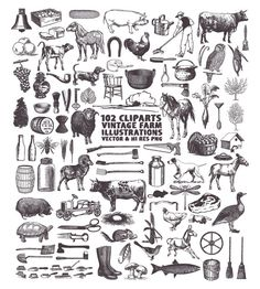 Instant Download 102 Vintage Farm Illustration Engraving Hand Drawn Design Elements Vector eps, ai, and PNG Files  What you will receive in this set:  • Total 102 clip arts. High Resolution (over 300dpi) LARGE size PNG with transparency of each clip art in approx. 6 inches at the longest side without watermark, background or text. (png format keeps the background transparent thus making it usable in most software, even word processing software like Microsoft Office Words and Power Point)  •…