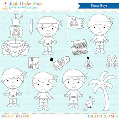 Pirate Stamps Clipart Clip Art Digital