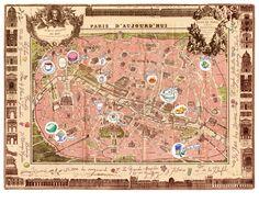 Delicious places on a Vintage Paris map poster 11X14 illustration print French antique map of Paris Kitchen decor. $38.00, via Etsy.