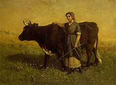 Untitled (woman walking with cow) - ca. 1869 -  Edward Mitchell Bannister, Canadian (1828-1901)