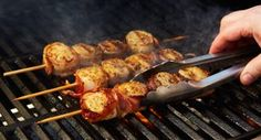 Bacon Wrapped Scallop Skewers: Smoky bacon   tender, briny scallops   Grill Mates Roasted Garlic andamp