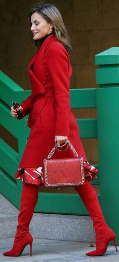 "Queen Letizia - Total #red - Hugo Boss coat - Carolina Herrera skirt - Magrit ""Francesca"" boots - Zara laser cut leather bag"