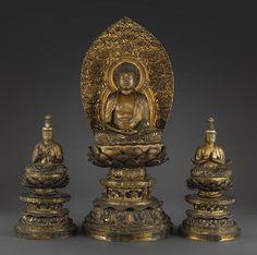 A gilt lacquer Buddhist sculptural triad 19th century