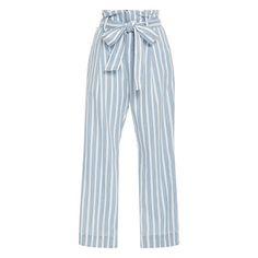 Frame Denim Le Paperbag Trousers - pale blue stripe pants, light blue stripe pants, pale blue stripe crop pants, light blue stripe crop pants, pale blue stripe paperbag pants, light blue stripe paperbag pants, pale blue stripe ankle pants, light blue stripe ankle pants