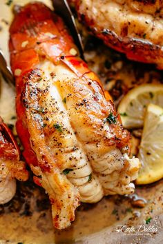 Butter Seared Lobster Tails Ever wondered how to cook lobster tail right on the stove? our butter seared lobster tails recipe is a hit! Lobster Dishes, Lobster Recipes, Fish Dishes, Fish Recipes, Seafood Recipes, Keto Recipes, Dinner Recipes, Cooking Recipes, Healthy Recipes