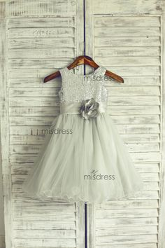 Silver Sequin Gray Tulle Flower Girl Dress Curly Hem di misdress, $52.99